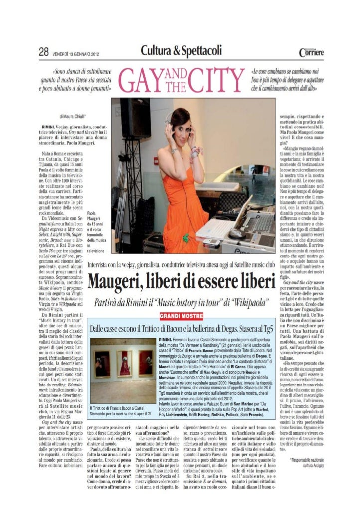 Corriere di Romagna (Gay And The City) del 13.12.2012