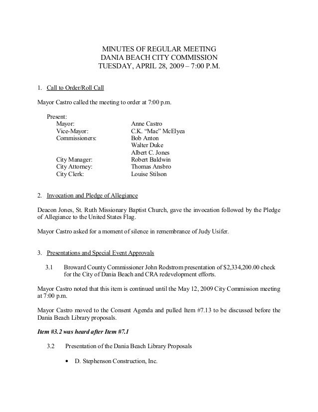 MINUTES OF REGULAR MEETING                           DANIA BEACH CITY COMMISSION                          TUESDAY, APRIL 2...