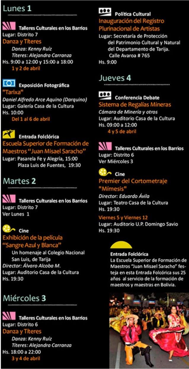 """Programación """"Abril en Tarija"""""""
