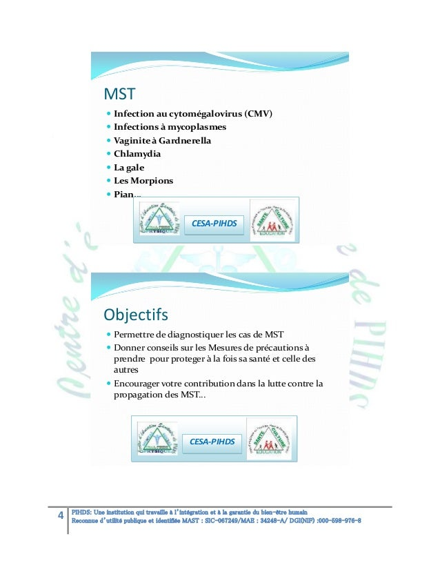 MST  Infection au cytomégalovirus (CMV)  Infections à mycoplasmes  Vaginite à Gardnerella  Chlamydia  La gale  Les M...