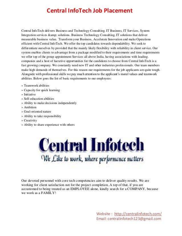 Central InfoTech Job Placement Central InfoTech delivers Business and Technology Consulting, IT Business, IT Services, Sys...