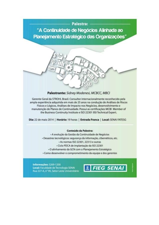 Convite para a minha palestra-aula na Faculdade de Tecnologia SENAI em Goiânia