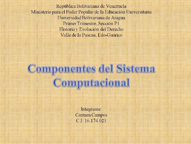 Componentes Sistema Computacional • Componentes: – Hardware – Software – Datos – Usuario Tener una visión en perspectiva d...