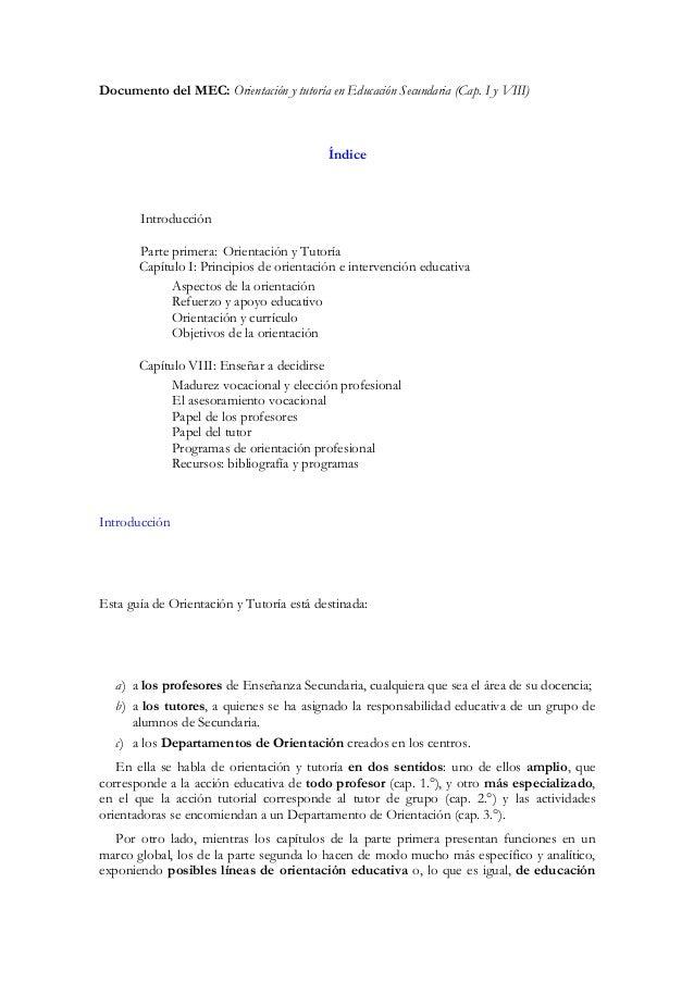Documento del MEC: Orientación y tutoría en Educación Secundaria (Cap. I y VIII)                                          ...