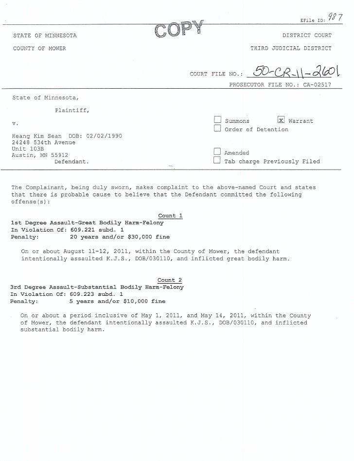 Heang Kim Sean criminal complaint