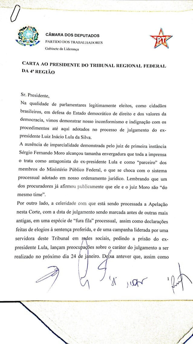 Parlamentares do PT entregam carta ao presidente do TRF4
