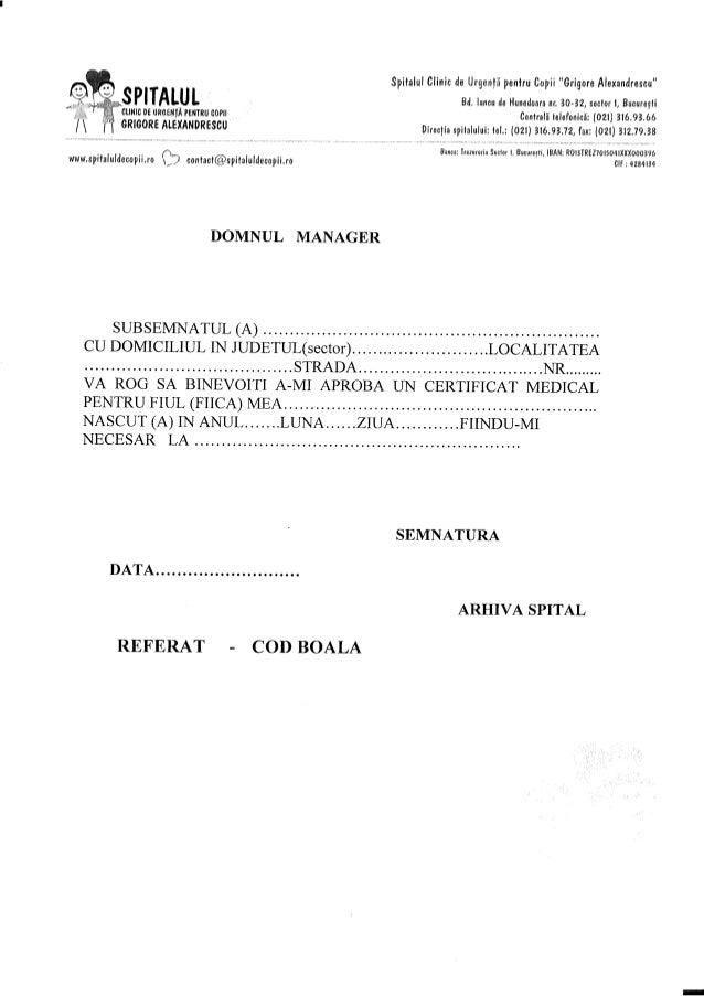 Cerere Eliberare Certificat Medical