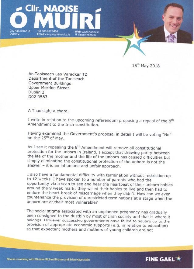 Letter to An Taoiseach