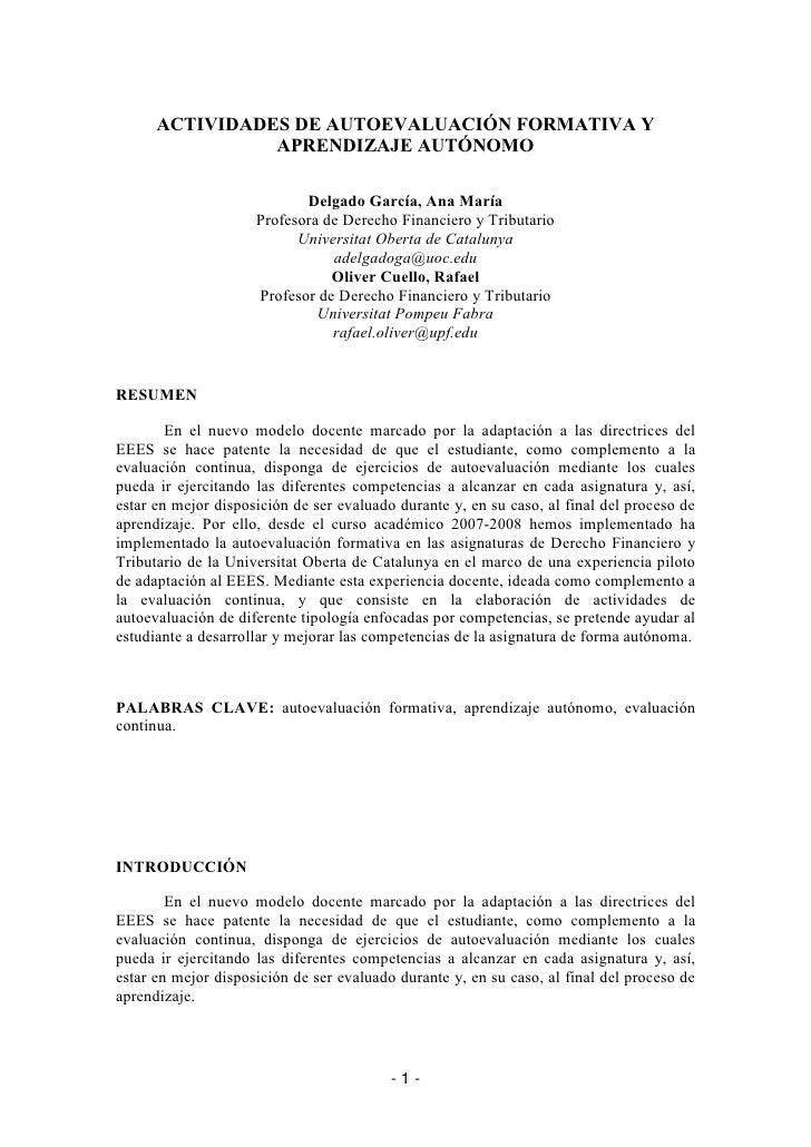 ACTIVIDADES DE AUTOEVALUACIÓN FORMATIVA Y                 APRENDIZAJE AUTÓNOMO                              Delgado García...