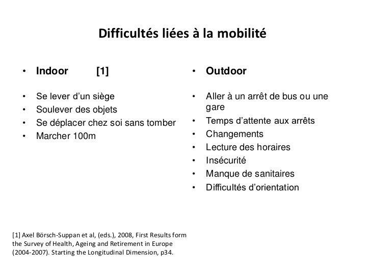 Difficultés liées à la mobilité   • Indoor                  [1]                                 • Outdoor   •    Se lever ...