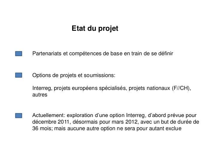 Etat du projetPartenariats et compétences de base en train de se définirOptions de projets et soumissions:Interreg, projet...
