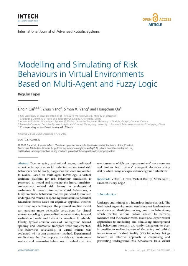 ARTICLE International Journal of Advanced Robotic Systems  Modelling and Simulating of Risk Behaviours in Virtual Environm...