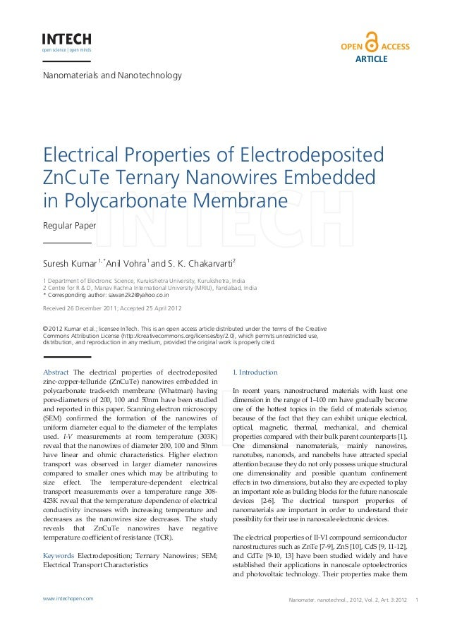 ARTICLE Nanomaterials and Nanotechnology  Electrical Properties of Electrodeposited ZnCuTe Ternary Nanowires Embedded in P...