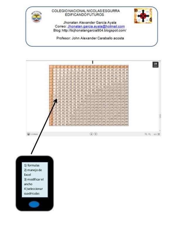 1) formulas 2) manejo de Excel 3) modificar el ancho 4 )seleccionar cuadriculas