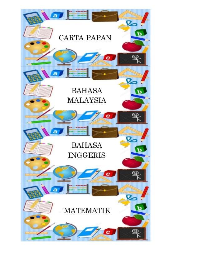 CARTA PAPAN  BAHASA  MALAYSIA  BAHASA  INGGERIS  MATEMATIK