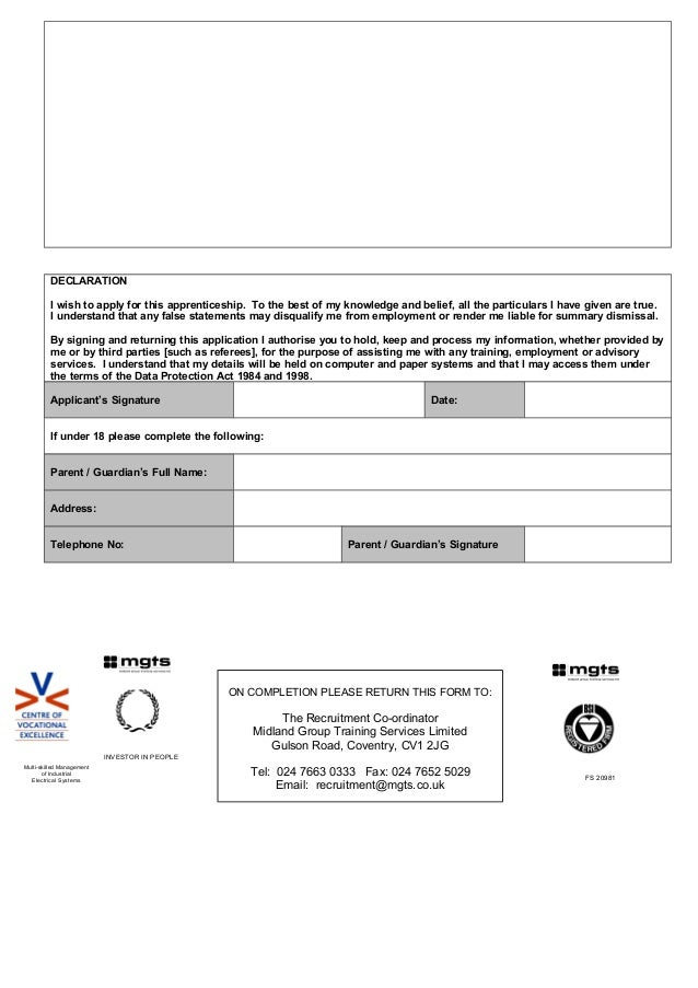 Doc 202 N - Apprentice Application Form