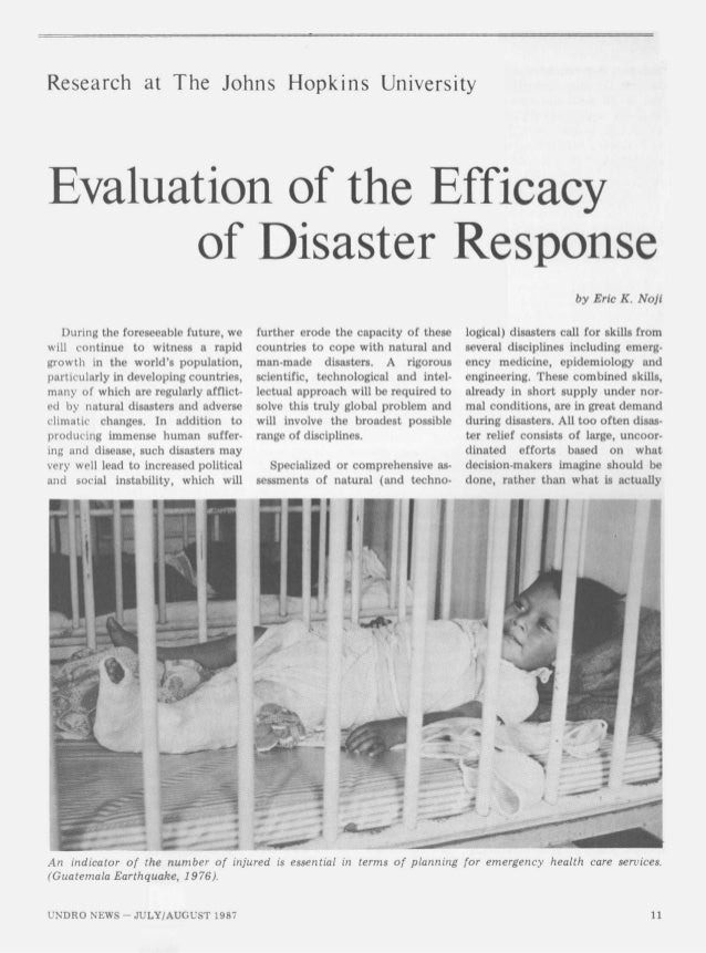 Evaluation of the Efficacy of Disaster Response