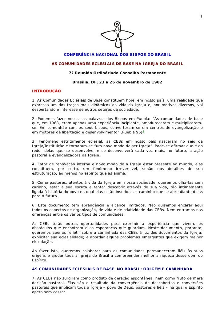 1                     CONFERÊNCIA NACIONAL DOS BISPOS DO BRASIL            AS COMUNIDADES ECLESIAIS DE BASE NA IGREJA DO B...