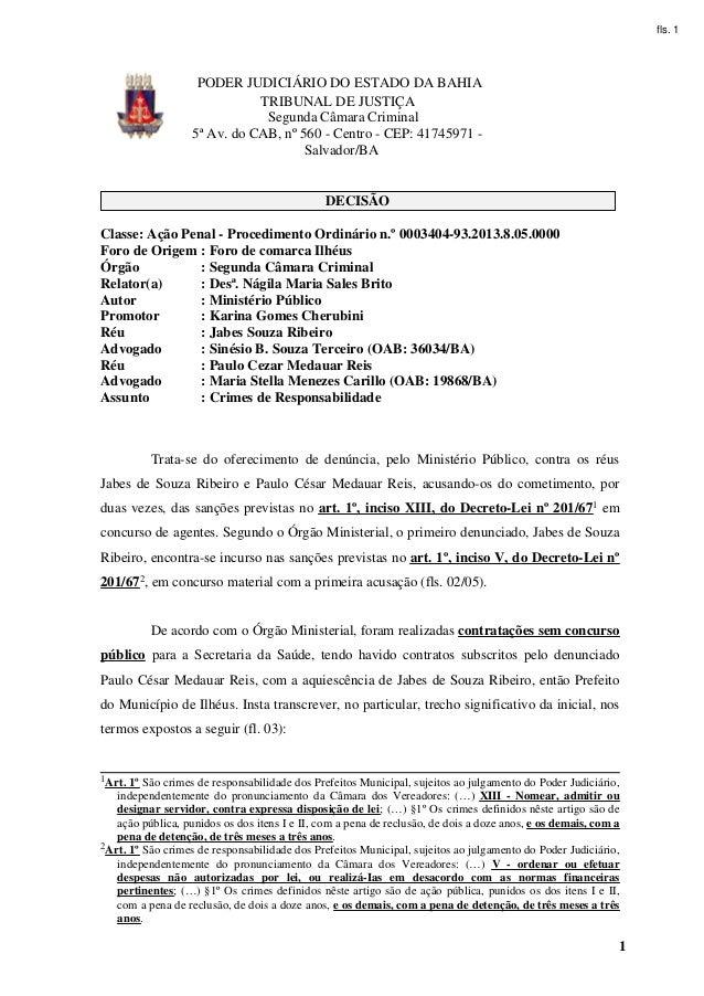 fls. 1                    PODER JUDICIÁRIO DO ESTADO DA BAHIA                              TRIBUNAL DE JUSTIÇA            ...