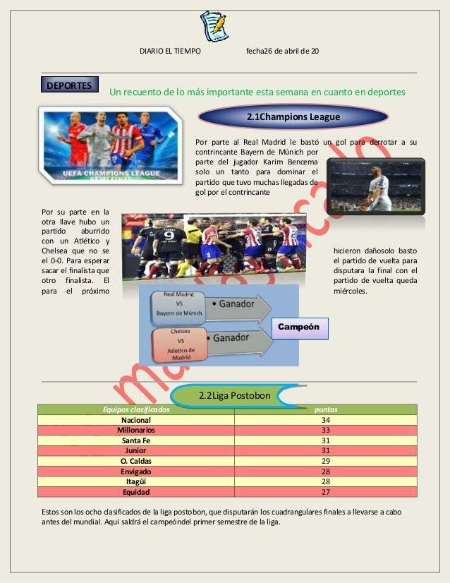DIARIO EL TIEMPO fecha26 de abril de 20 Un recuento de lo más importante esta semana en cuanto en deportes Por parte al Re...