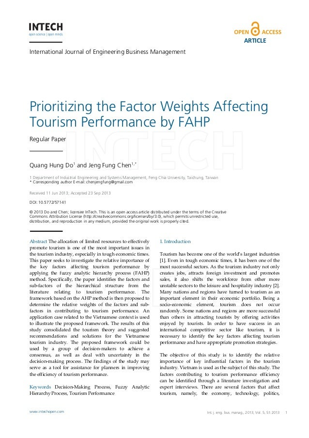 ARTICLE International Journal of Engineering Business Management  Prioritizing the Factor Weights Affecting Tourism Perfor...