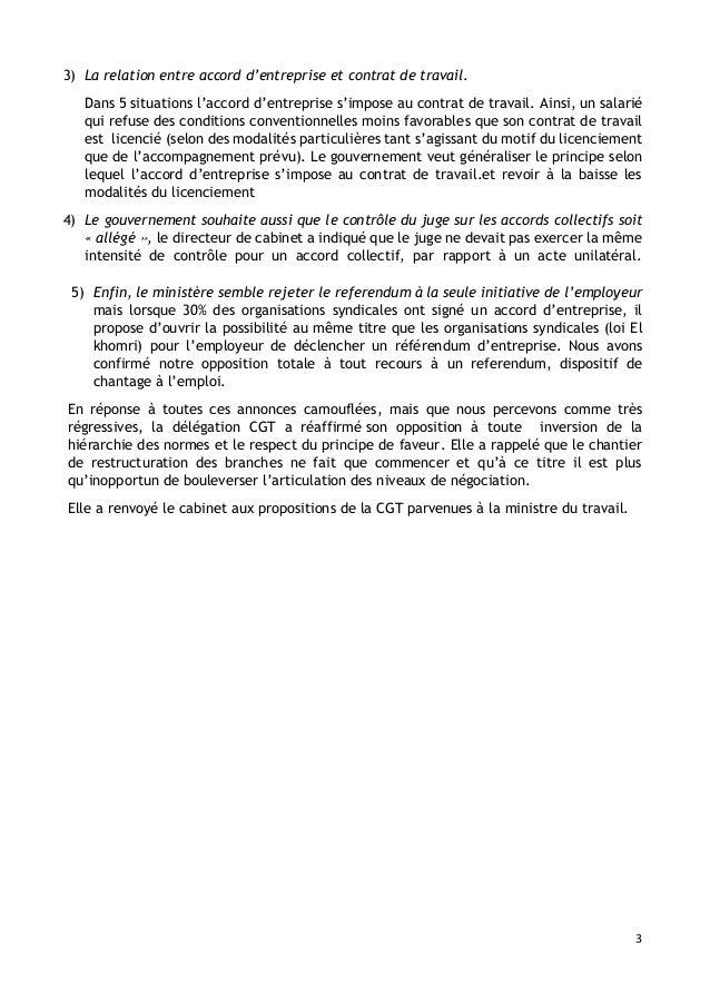 3 3) La relation entre accord d'entreprise et contrat de travail. Dans 5 situations l'accord d'entreprise s'impose au cont...