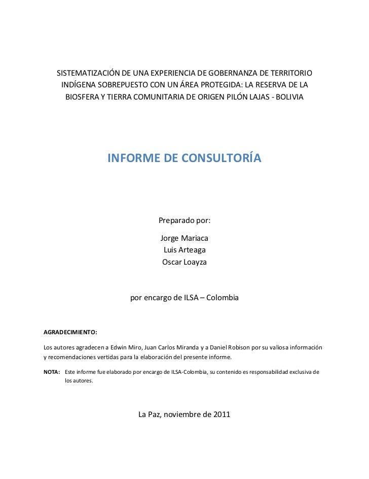 SISTEMATIZACIÓN DE UNA EXPERIENCIA DE GOBERNANZA DE TERRITORIO      INDÍGENA SOBREPUESTO CON UN ÁREA PROTEGIDA: LA RESERVA...