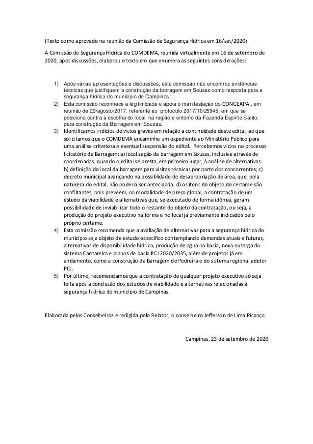 (Texto como aprovado na reuni�o da Comiss�o de Seguran�a H�drica em 16/set/2020) A Comiss�o de Seguran�a H�drica do COMDEM...