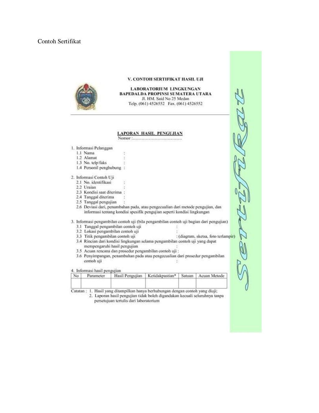 Contoh instruksi kerja dan sertifikat ccuart Images
