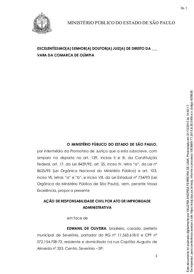 1 MINISTÉRIO PÚBLICO DO ESTADO DE SÃO PAULO EXCELENTÍSSIMO(A) SENHOR(A) DOUTOR(A) JUIZ(A) DE DIREITO DA ___ VARA DA COMARC...