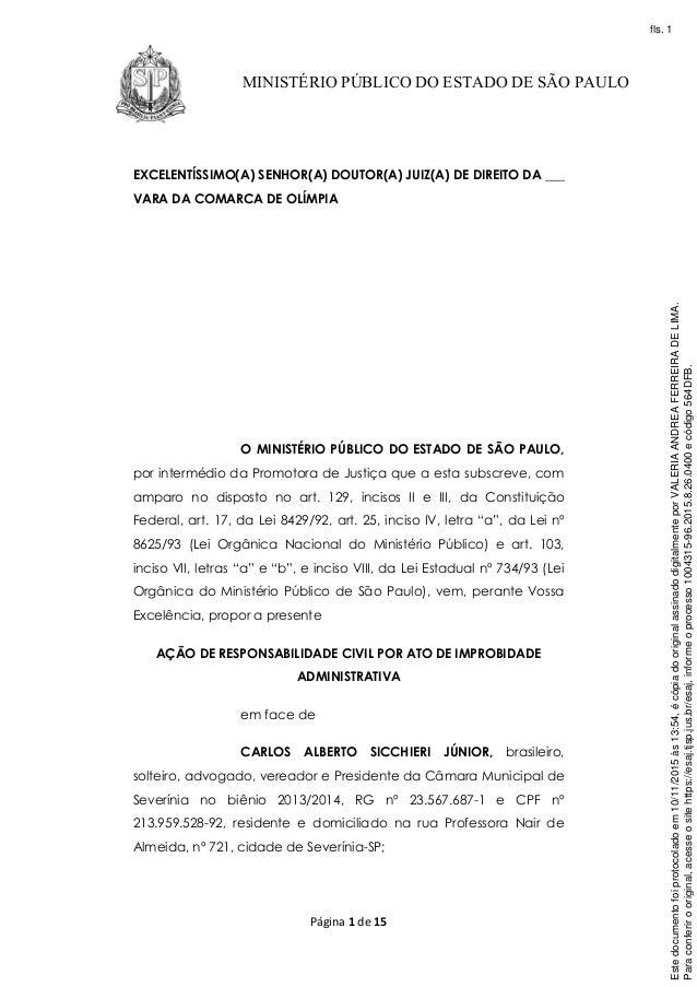 Página 1 de 15 MINISTÉRIO PÚBLICO DO ESTADO DE SÃO PAULO EXCELENTÍSSIMO(A) SENHOR(A) DOUTOR(A) JUIZ(A) DE DIREITO DA ___ V...