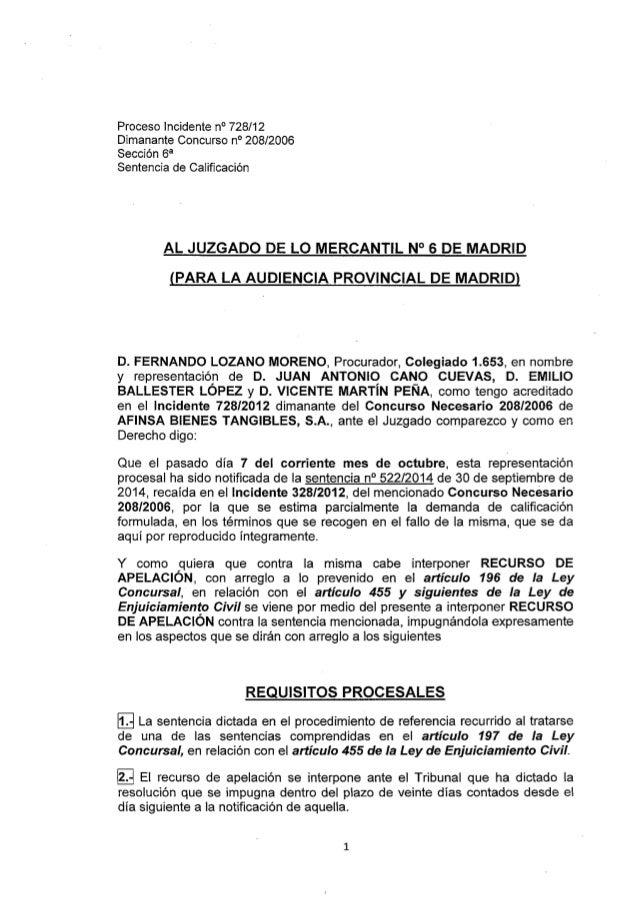 Proceso Incidente n° 728/12 Dimanante Concurso n° 208/2006 Sección 6a  Sentencia de CaIificación  AL JUZGADO DE LO MERCANT...