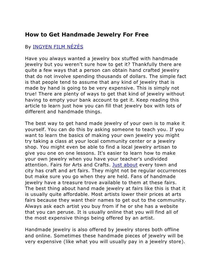 How to Get Handmade Jewelry For FreeBy INGYEN FILM NÉZÉSHave you always wanted a jewelry box stuffed with handmadejewelry ...