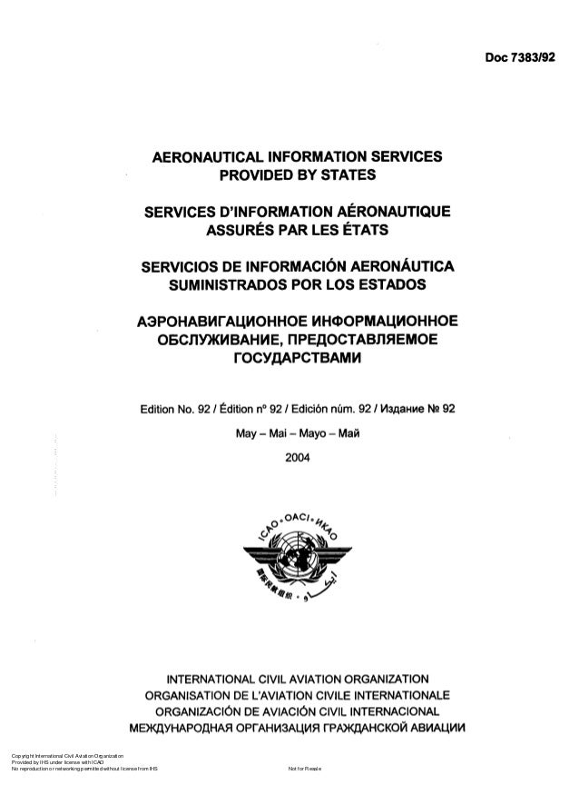 Doc 7383192  AERONAUTICAL INFORMATION SERVICES PROVIDED BY STATES SERVICES D'INFORMATION AÉRONAUTIQUE ASSURÉS PAR LES ÉTAT...