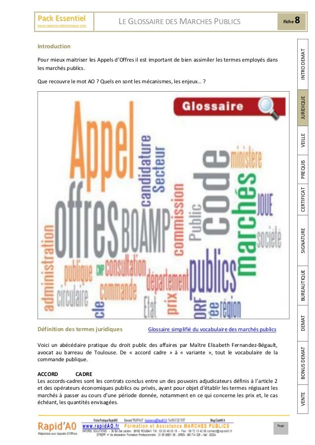 Pack Essentiel                     LE GLOSSAIRE DES MARCHES PUBLICS                                       Fiche   8www.rep...