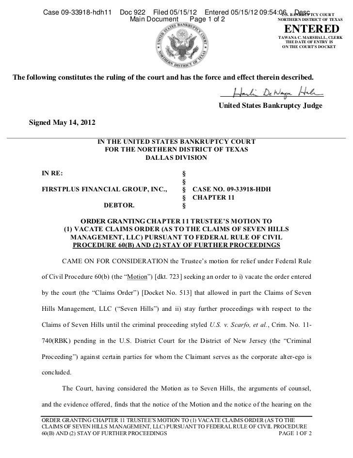 Case 09-33918-hdh11         Doc 922 Filed 05/15/12 Entered 05/15/12 09:54:06 BANKRUPTCY COURT                             ...