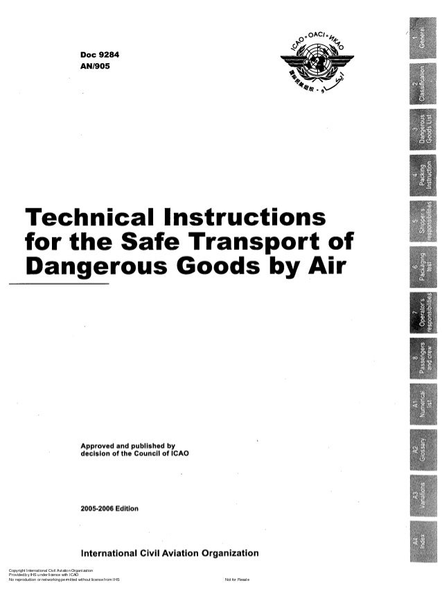 Doc 9284 Technical Instructions For The Safe Transport Of Dgs By Air