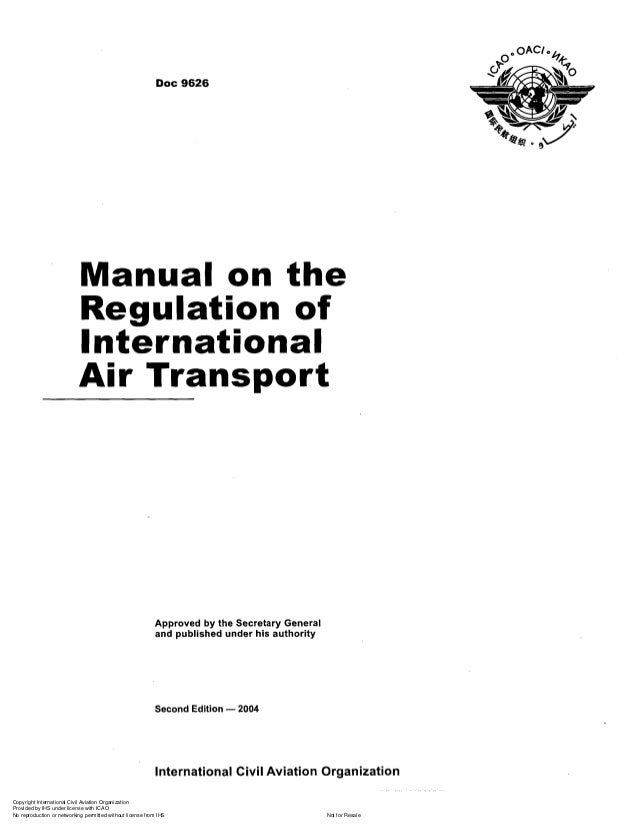 Doc 9626 manual on the regulation of international air