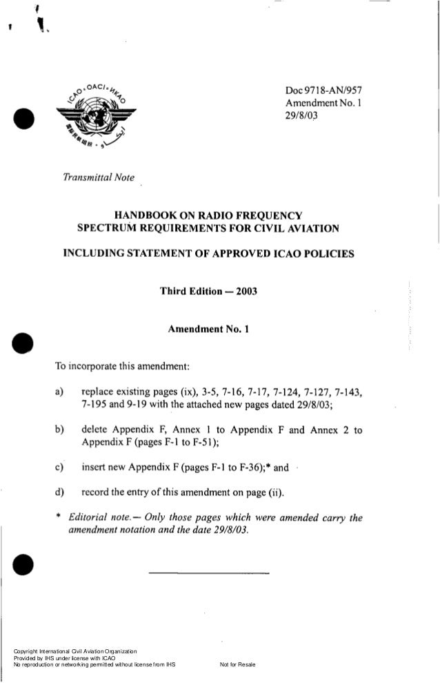 DOC %ANI957 971 Amendment No. 1 29/8/03  O Transmittal Note  HANDBOOK ON RADIO FREQUENCY SPECTRUM REQUIREMENTS FOR CIVIL A...
