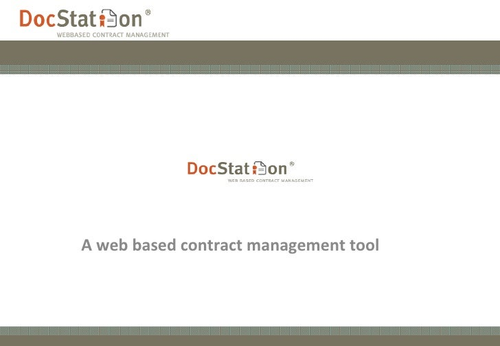 A web based contract management tool