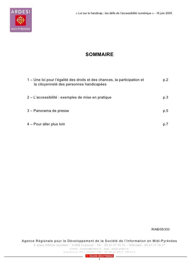 « Loi sur le handicap : les défis de l'accessibilité numérique » - 16 juin 2005                                           ...
