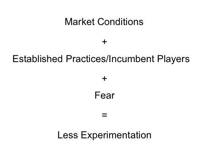 Market Conditions Established Practices/Incumbent Players + + = Fear Less Experimentation