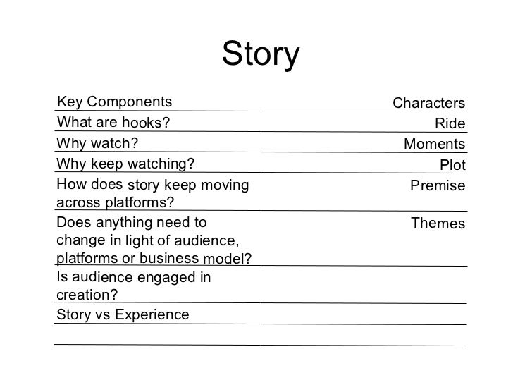 Story Key Components Characters What are hooks? Ride Why watch? Moments Why keep watching? Plot How does story keep moving...