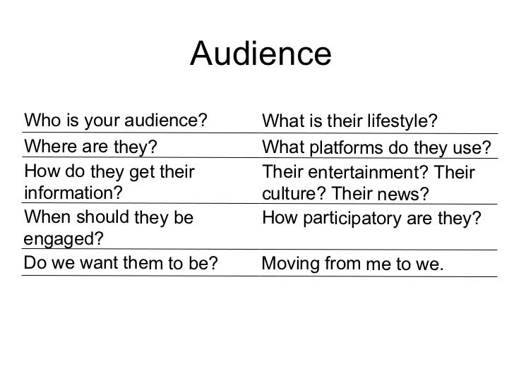 Audience Who is your audience? What is their lifestyle? Where are they? What platforms do they use? How do they get their ...