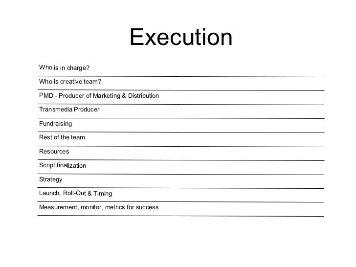 Execution Who is in charge? Who is creative team? PMD - Producer of Marketing & Distribution Transmedia Producer Fundraisi...