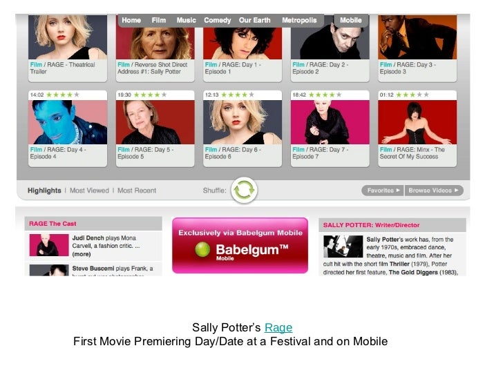 Sally Potter's  Rage First Movie Premiering Day/Date at a Festival and on Mobile