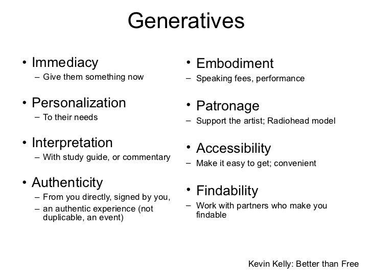 Generatives <ul><li>Immediacy </li></ul><ul><ul><li>Give them something now </li></ul></ul><ul><li>Personalization </li></...