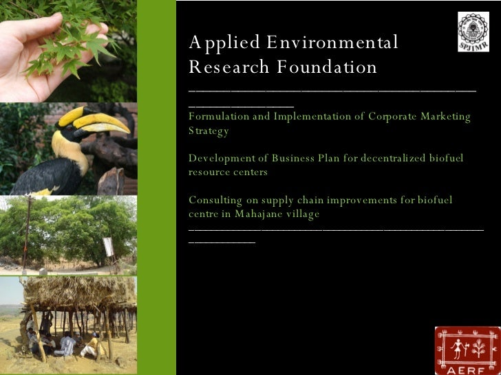 Applied Environmental Research Foundation ________________________________________________________ Formulation and Impleme...