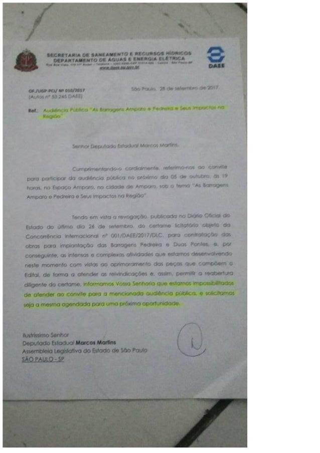Barragens-audiencia Amparo 5/10/17-DAEE não compareceu