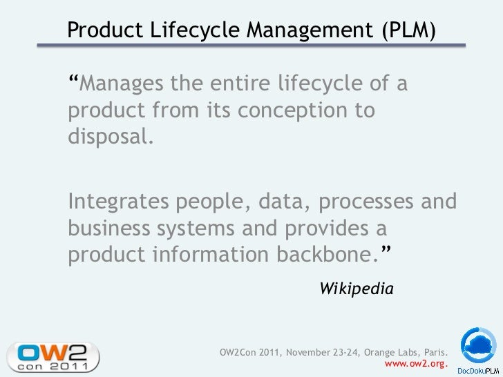 """Product Lifecycle Management (PLM)""""Manages the entire lifecycle of aproduct from its conception todisposal.Integrates peop..."""